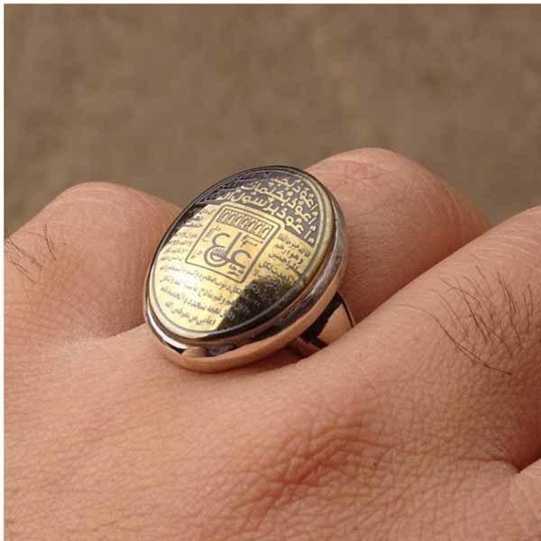 انگشتر مردانه حدید خطی هفت جلاله