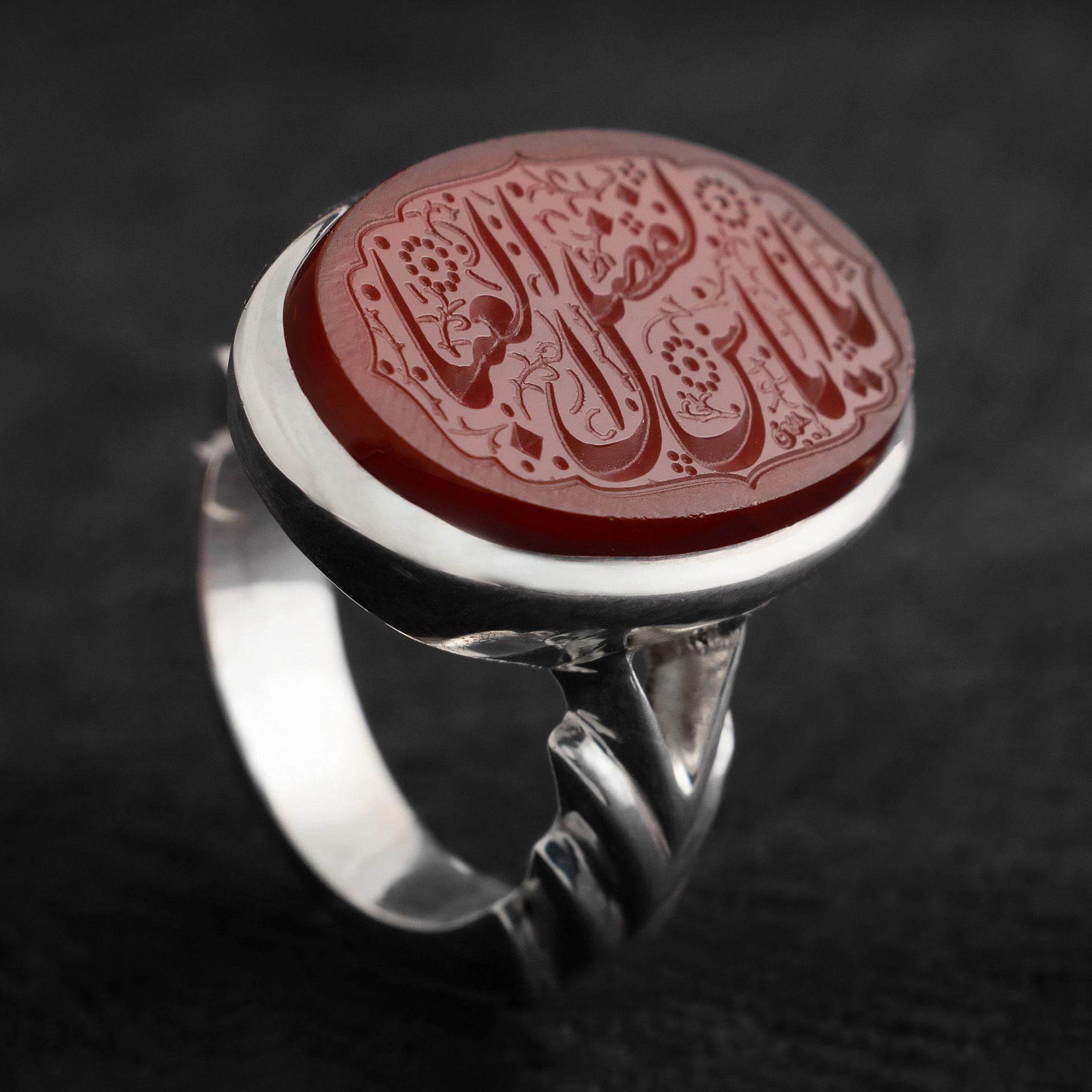 انگشتر مردانه عقیق سرخ یمن خطی دست ساز