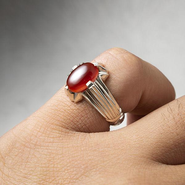 انگشتر مردانه عقیق قرمز یمن دستساز