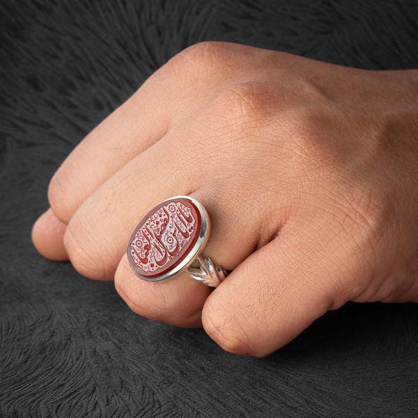 انگشتر مردانه عقیق سرخ یمانی خطی دست ساز