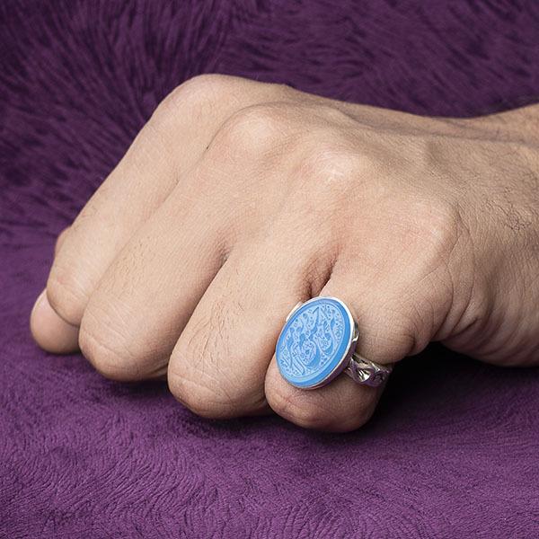 انگشتر نقره مردانه عقیق آبی آسمانی خطی دستساز
