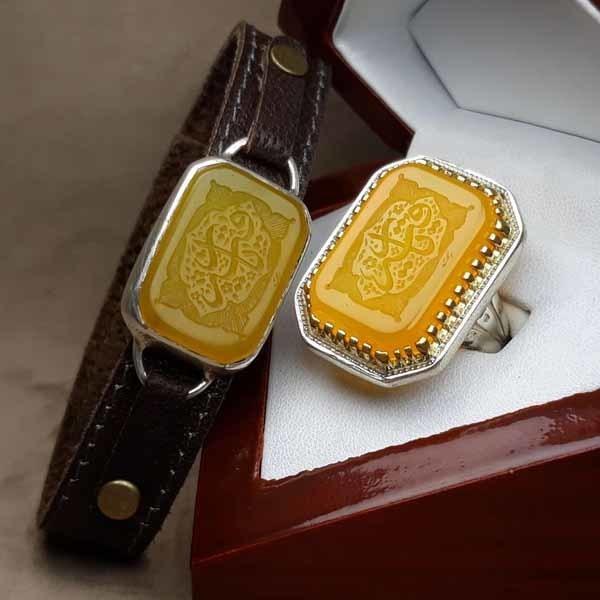 ست انگشتر و دستبند عقیق زرد خطی