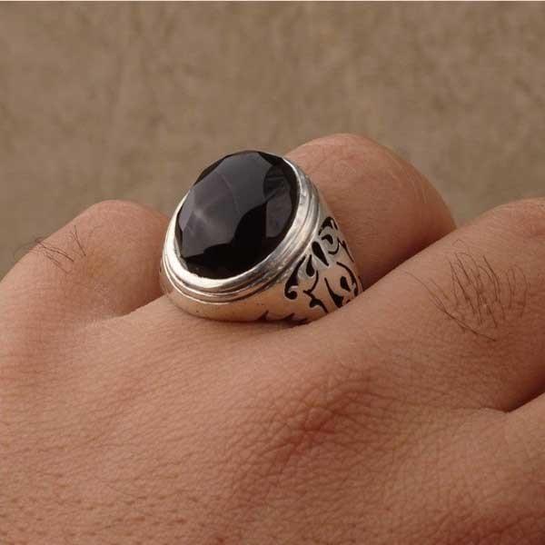 انگشتر نقره مردانه عقیق مشکی یمانی دست ساز