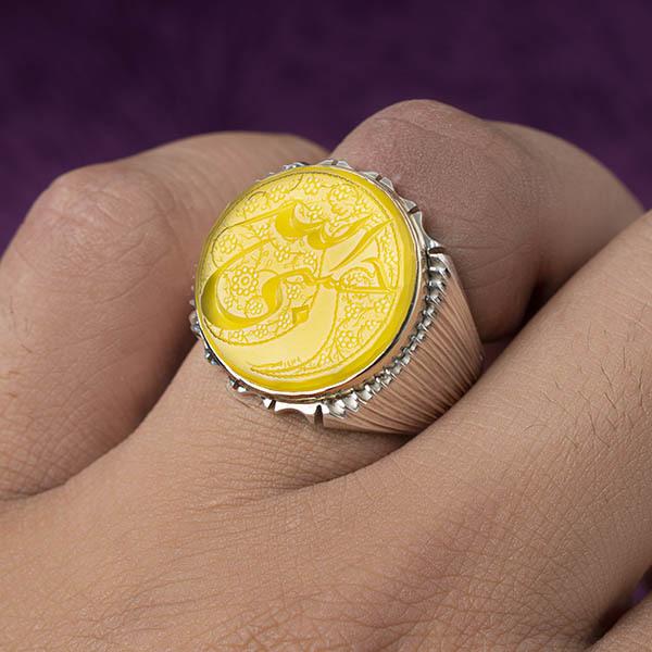 انگشتر مردانه عقیق زردخطی دستساز