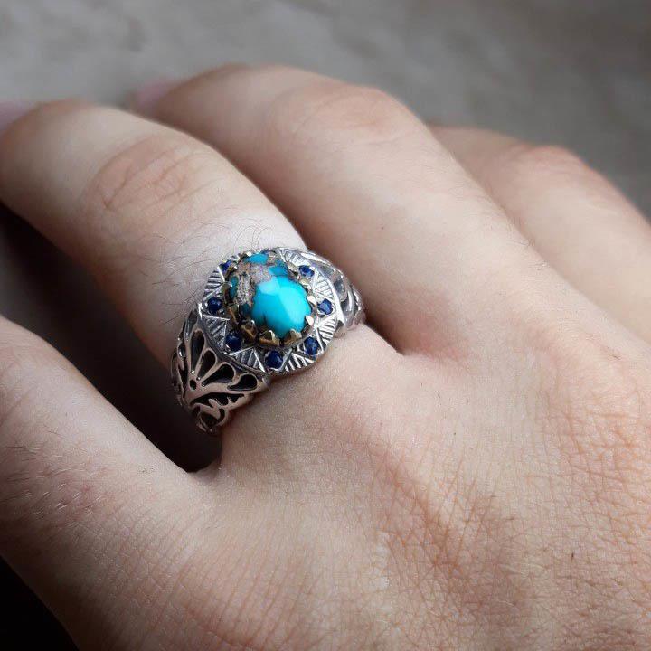انگشتر نقره مردانه فیروزه نیشابوری معدنی