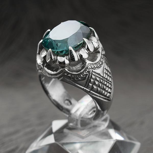 انگشتر مردانه توپازسبز دست ساز