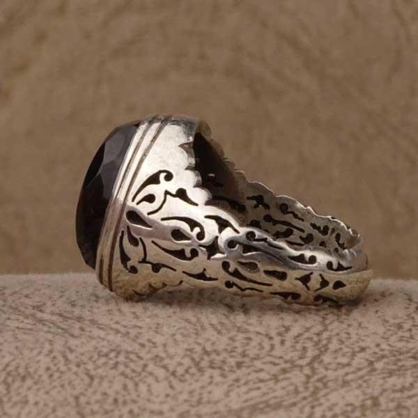 انگشتر نقره مردانه عقیق جزع یمنی دست ساز