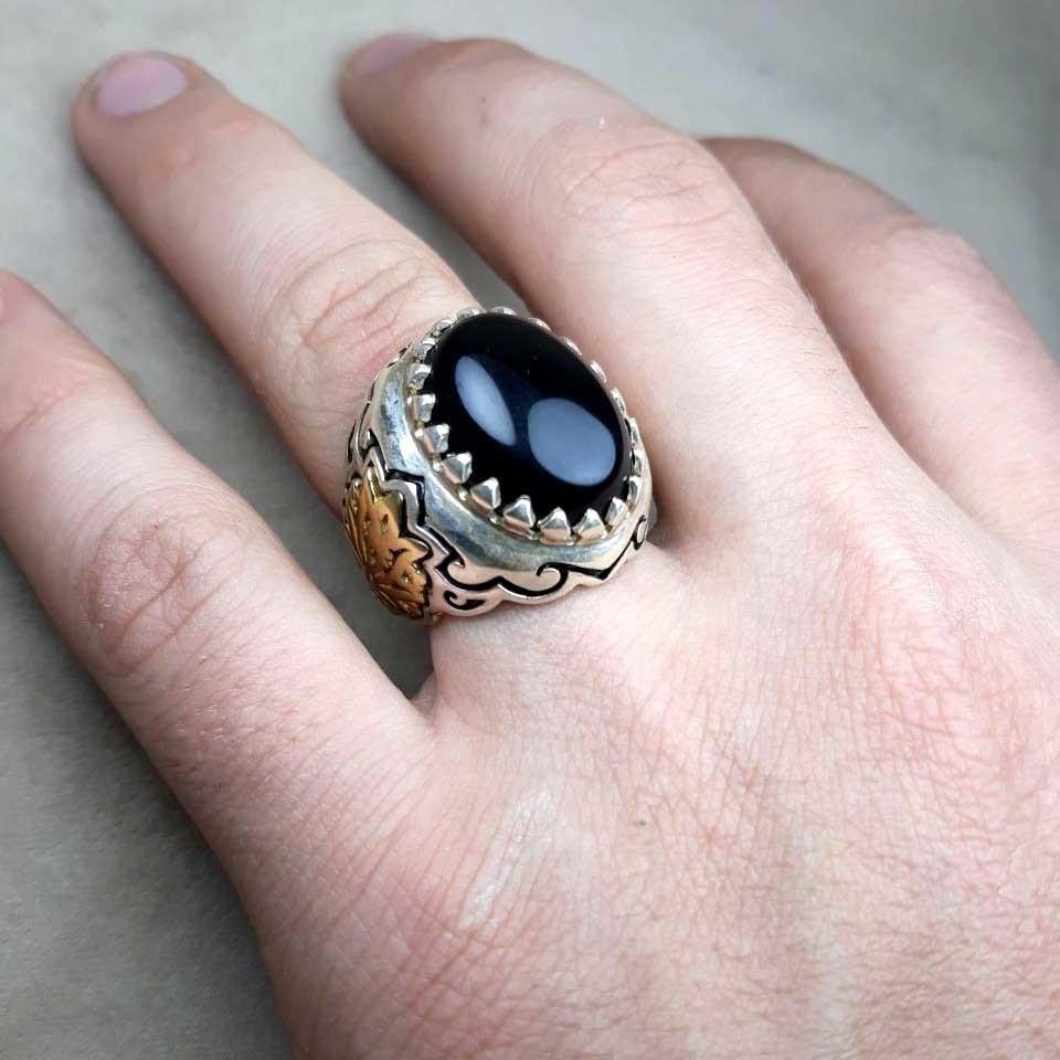 انگشتر مردانه عقیق مشکی