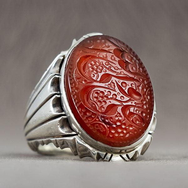 انگشتر مردانه عقیق قرمز یمانی دست ساز