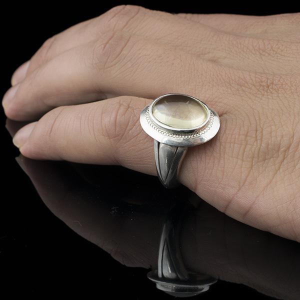 انگشتر مردانه کوارتز لیمویی دست ساز