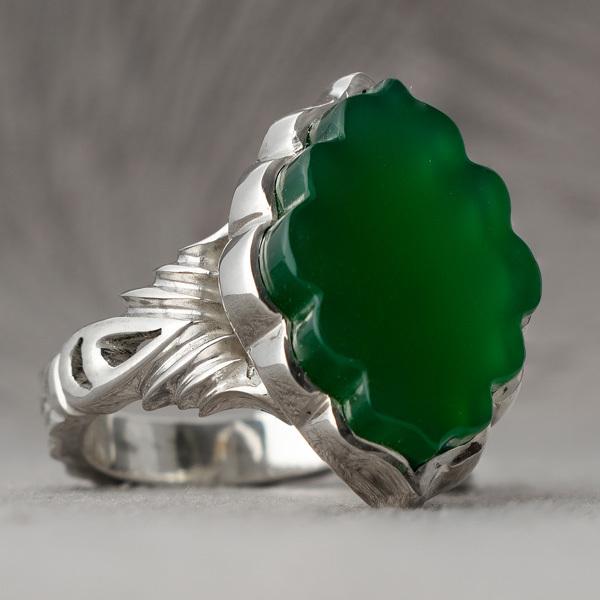 انگشتر نقره مردانه عقیق سبز دست ساز