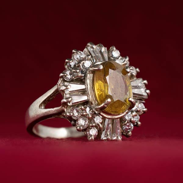 انگشتر زنانه یاقوت زرد معدنی و اصل