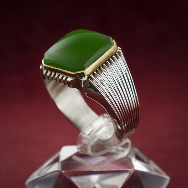 انگشتر نقره مردانه یشم دست ساز