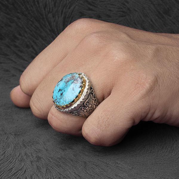 انگشتر مردانه فیروزه نیشابوری دستساز