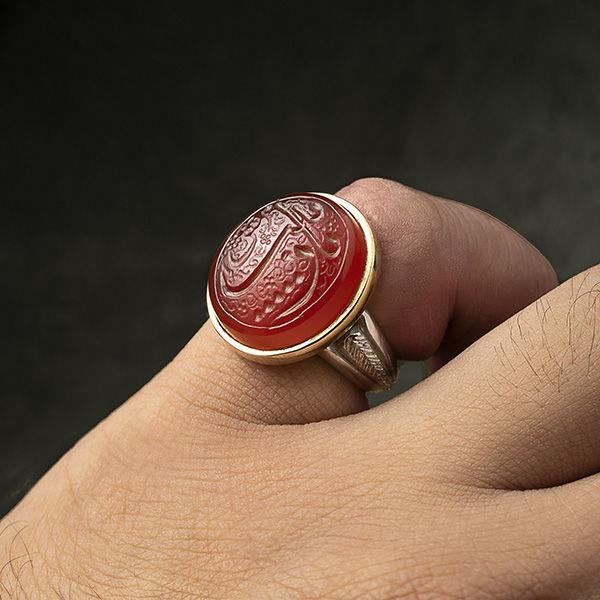 انگشتر نقره مردانه عقیق قرمز خطی دستساز