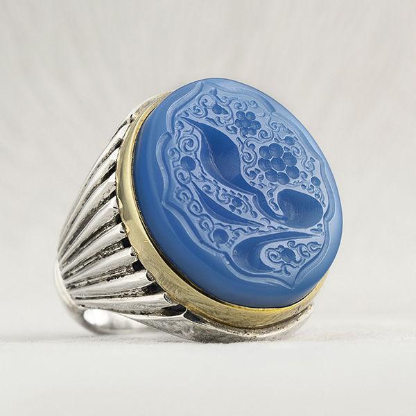 انگشتر مردانه عقیق آبی خطی دست ساز
