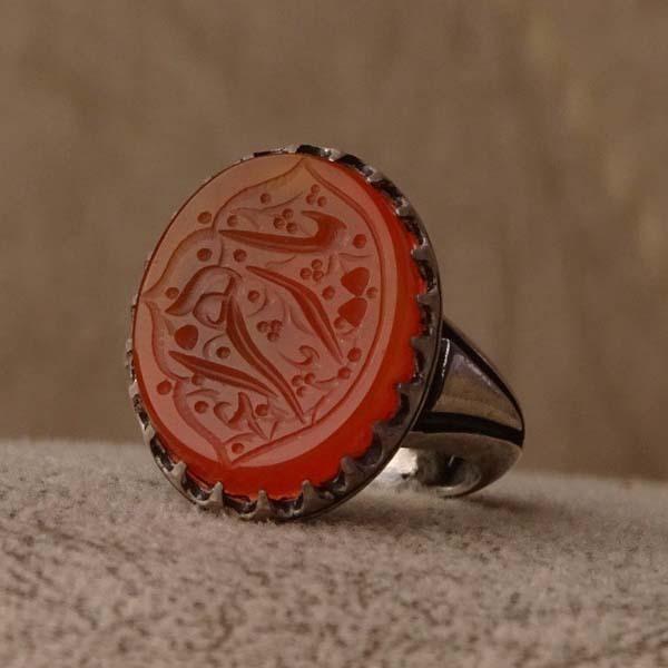 انگشتر مردانه عقیق پرتقالی یمن خطی