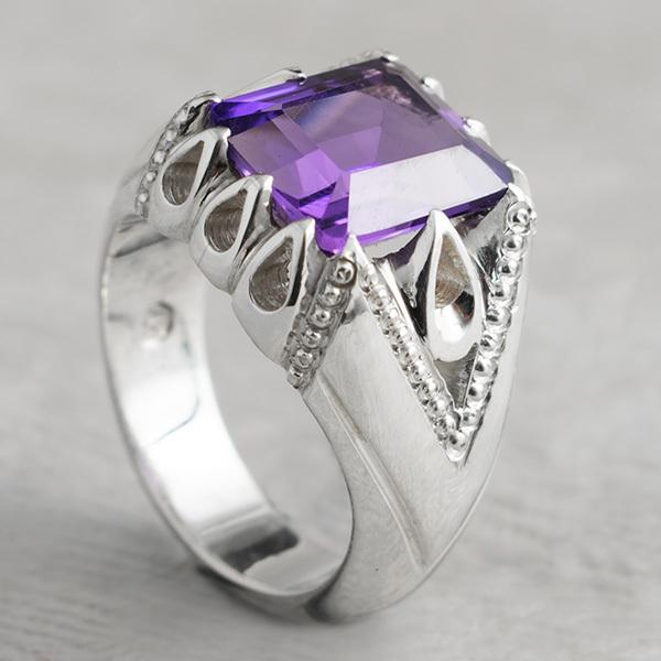 انگشتر مردانه آماتیست دستساز