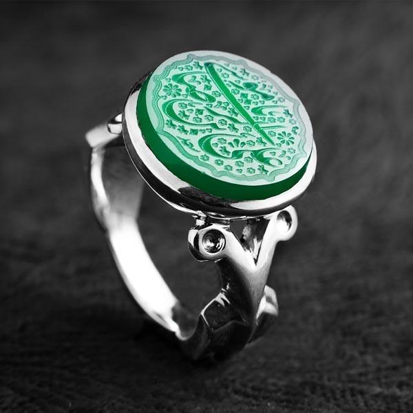انگشترنقره مردانه عقیق سبز خطی دستساز