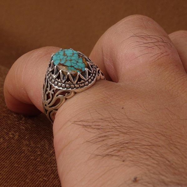 انگشتر مردانه فیروزه نیشابوری معدنی