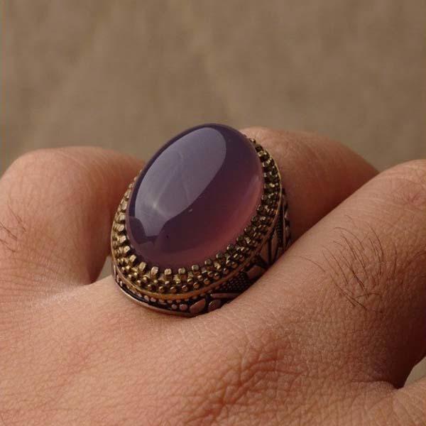 انگشتر نقره مردانه عقیق یاسی