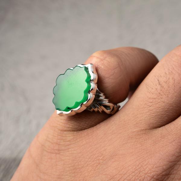 انگشتر نقره مردانه عقیق سبز دستساز