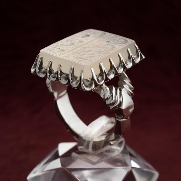 انگشتر نقره مردانه عقیق نباتی یمانی خطی دستساز