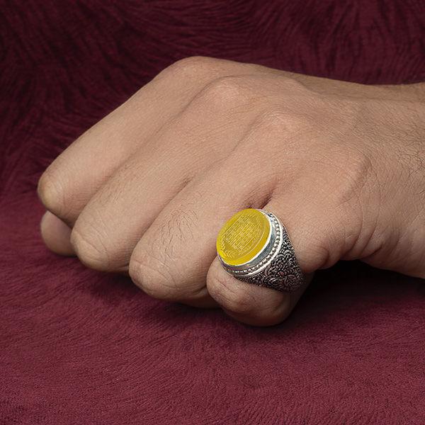انگشتر مردانه عقیق زرد هفت شرف دست ساز
