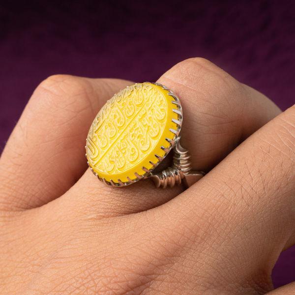 انگشتر نقره مردانه عقیق زرد خطی دستساز
