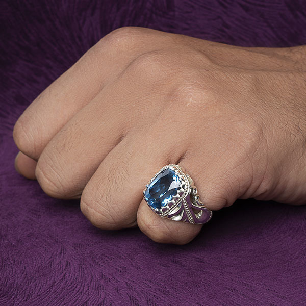 انگشتر مردانه بلو توپاز سوئیس دست ساز