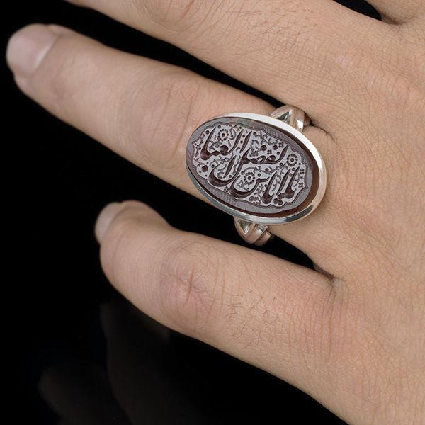 انگشتر مردانه عقیق سرخ یمنی خطی دست ساز