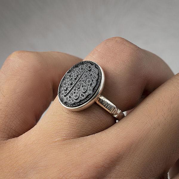 انگشتر مردانه عقیق سیاه خطی دستساز