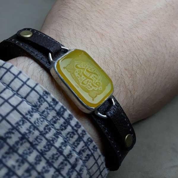 ست انگشتر و دستبند عقیق زرد اصل خطی