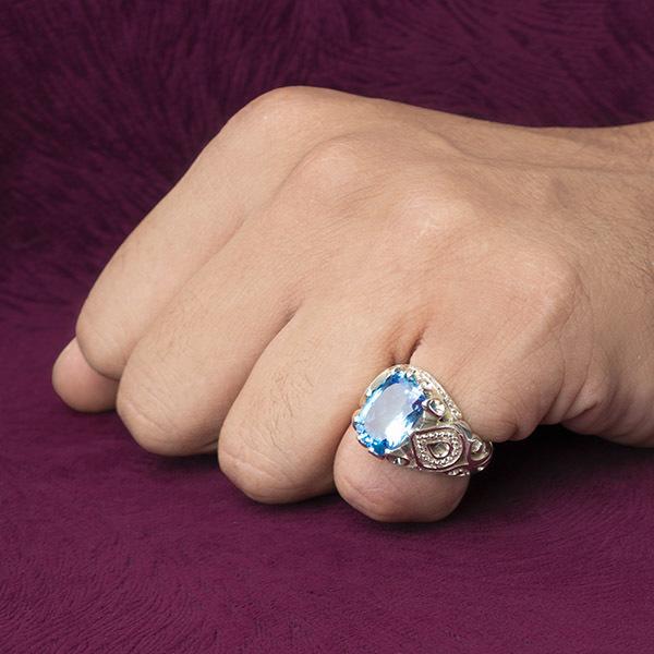 انگشتر مردانه توپاز سوییس دستساز