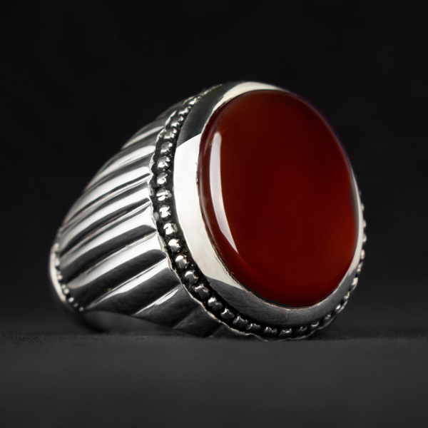 انگشتر مردانه عقیق قرمز یمانی دستساز