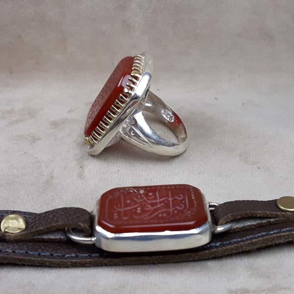 ست انگشتر و دستبند عقیق قرمز خطی