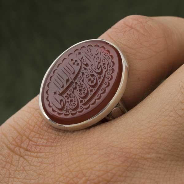 انگشتر مردانه عقیق سرخ خطی دست ساز