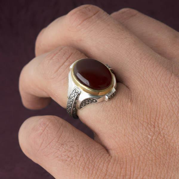 انگشتر نقره مردانه عقیق سرخ یمن دستساز