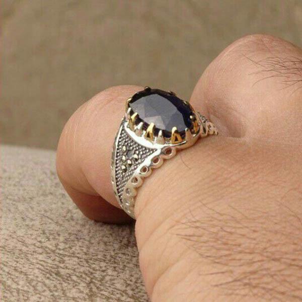 انگشتر نقره مردانه یاقوت کبود آفریقا