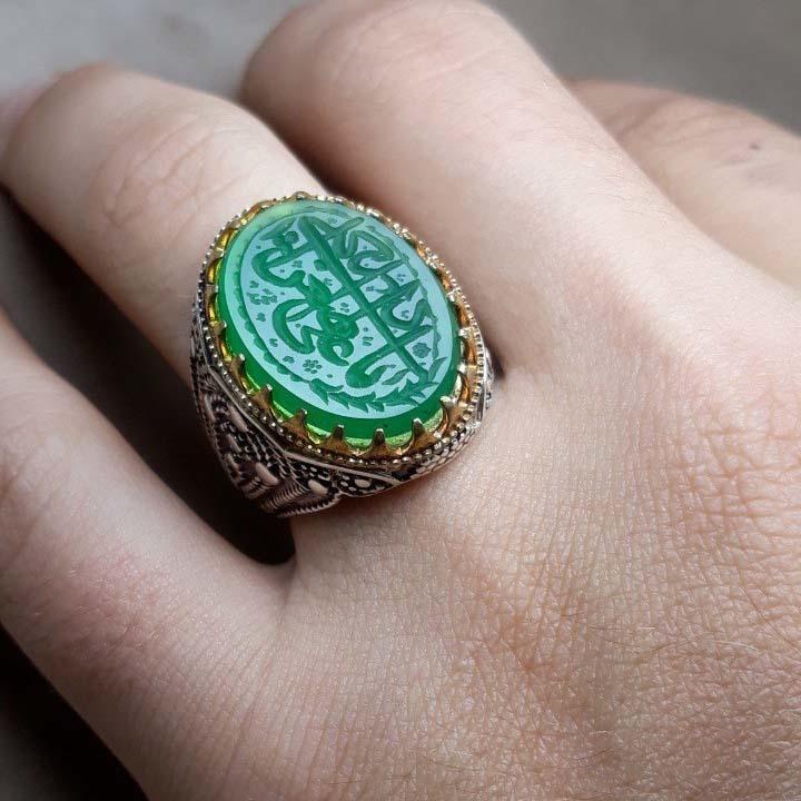انگشتر مردانه عقیق سبز خطی