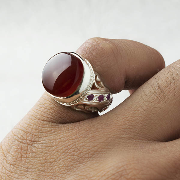 انگشتر مردانه عقیق سرخ یمانی دستساز