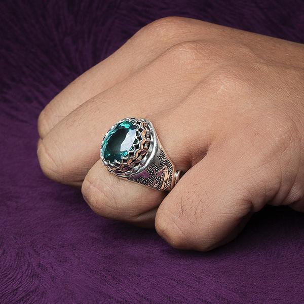 انگشتر مردانه توپاز سبز سوییس دستساز