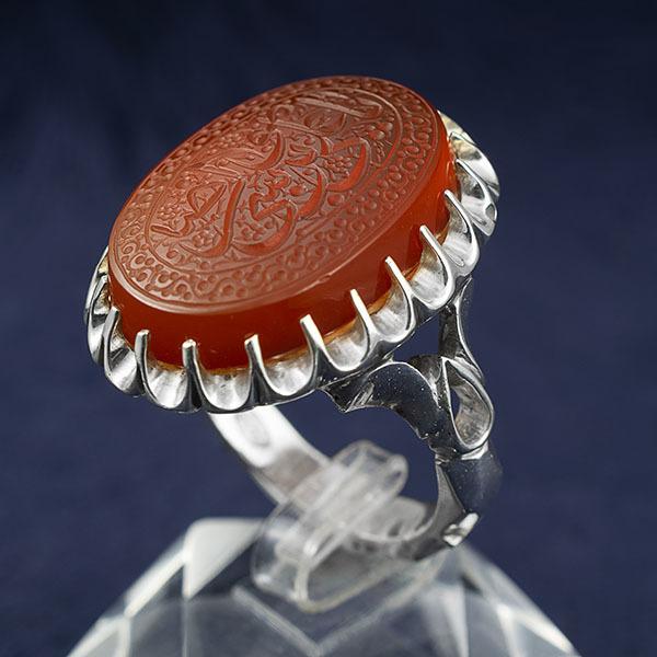 انگشتر مردانه عقیق پرتقالی خطی دست ساز
