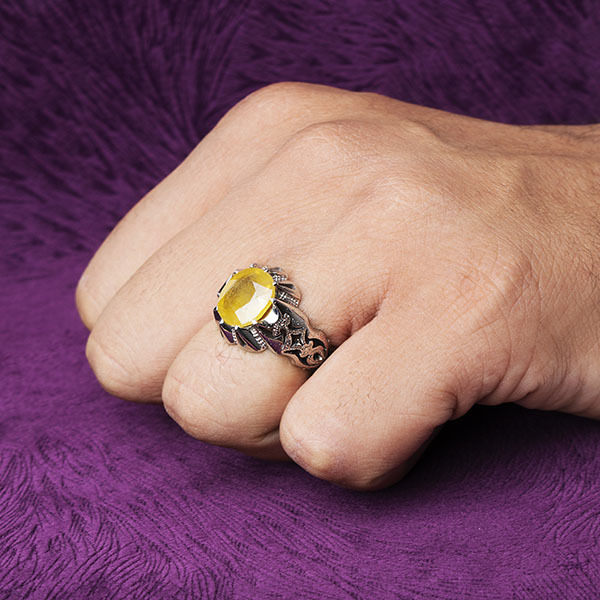 انگشتر مردانه یاقوت زرد اصل دستساز