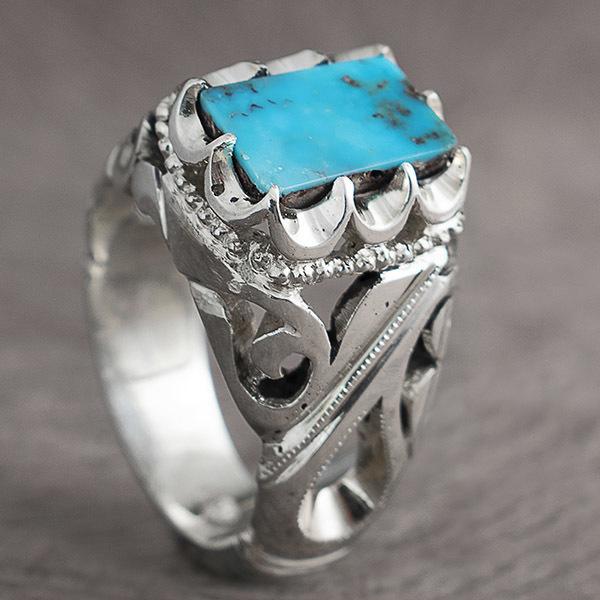 انگشتر مردانه فیروزه نیشابور اصل دست ساز