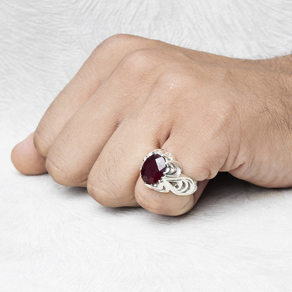 انگشتر مردانه یاقوت سرخ اصل دستساز