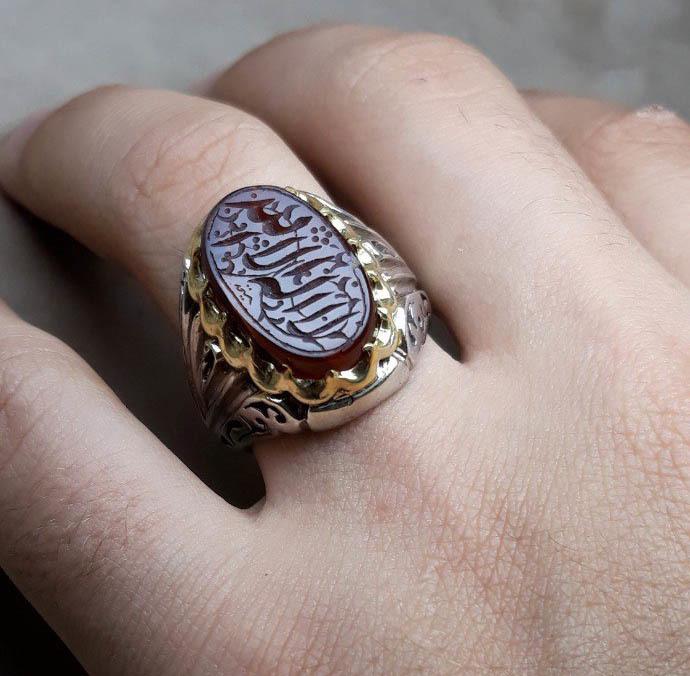انگشتر مردانه عقیق سرخ خطی
