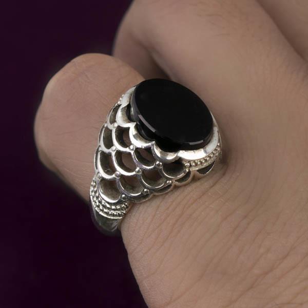 انگشتر مردانه عقیق جزع یمنی دست ساز