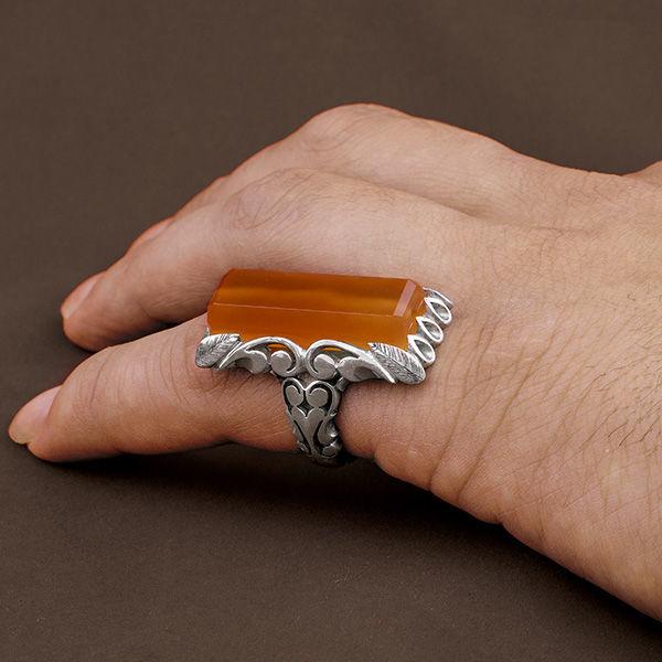 انگشتر مردانه عقیق کهنه یمنی دست ساز