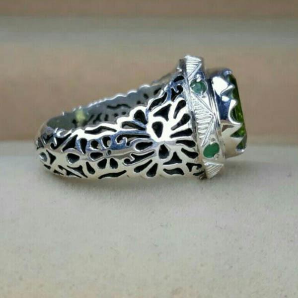 انگشتر نقره مردانه زبرجد دست ساز